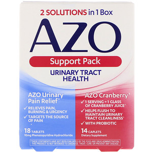 Азо, Urinary Tract Health, Support Pack, 18 Tablets, 14 Caplets отзывы