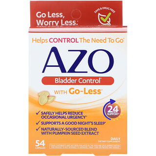 Azo, Bladder Control, with Go-Less, 54 Capsules