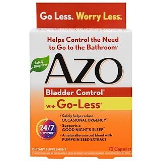 Azo, Bladder Control, With Go-Less, 72 Capsules
