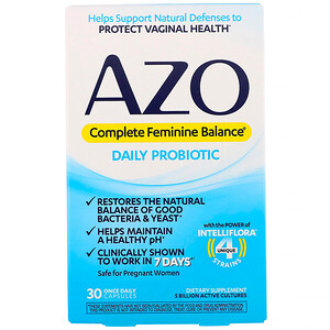 Азо, Complete Feminine Balance, Daily Probiotic, 30 Once Daily Capsules отзывы