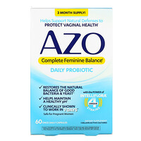 Azo, Complete Feminine Balance, Daily Probiotic, 5 Billion Active Cultures, 60 Once Daily Capsules