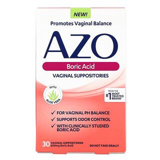 Azo, Boric Acid, Vaginal Suppositories, 600 mg, 30 Suppositories