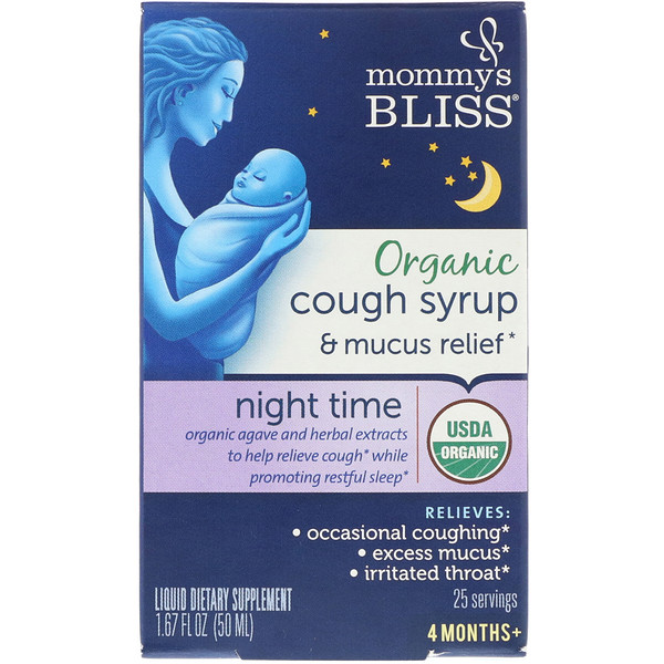 Mommy's Bliss, Organic, Cough Syrup & Mucus Relief, Night Time, 4 Months +, 1.67 fl oz (50 ml) (Discontinued Item)