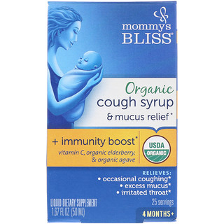 Mommy's Bliss, Organic, Cough Syrup & Mucus Relief, + Immunity Boost, 4 Months +, 1.67 fl oz (50 ml)