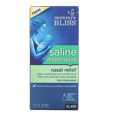 Купить Mommy's Bliss Saline Drops/Spray Nasal Relief, All Ages, 1 fl oz (30 ml)