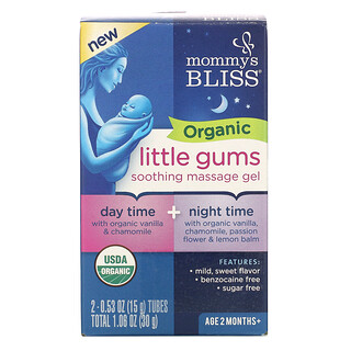 Mommy's Bliss, Organic Little Gums, Soothing Massage Gel, Day/Night Pack , Age 2 Months+, 2 Tubes , 0.53 oz (15 g) Each