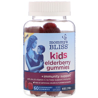 Mommy's Bliss, Kids, жевательные таблетки с бузиной для детей, поддержка иммунитета, 60жевательных таблеток