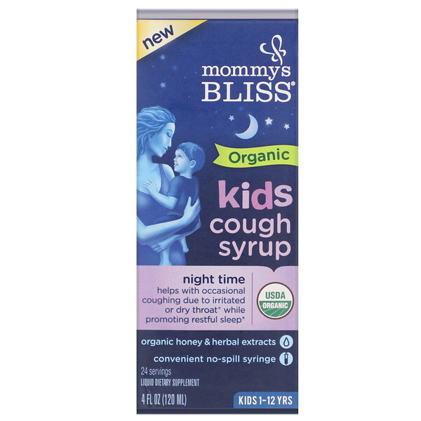 Kids, Organic Cough Syrup, Night Time, 1-12 Yrs, 4 fl oz (120 ml)