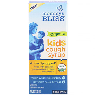 Mommy's Bliss, 兒童,有機咳嗽糖漿 + 免疫支持,1-12 歲,4 液量盎司(120 毫升)