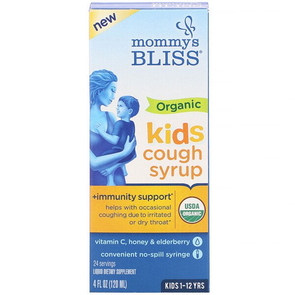 Kids, Organic Cough Syrup + Immunity Support, 1-12 Yrs, 4 fl oz (120 ml)