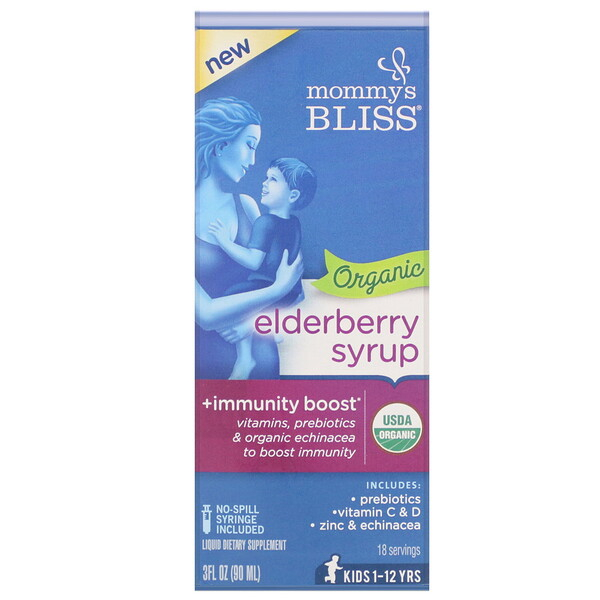 Mommy's Bliss, Organic Elderberry Syrup + Immunity Boost, 3 fl oz (90 ml)
