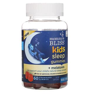 Mommy's Bliss, 兒童睡眠軟糖 + 褪黑荷爾蒙,3 歲以上兒童,草莓,60 顆軟糖