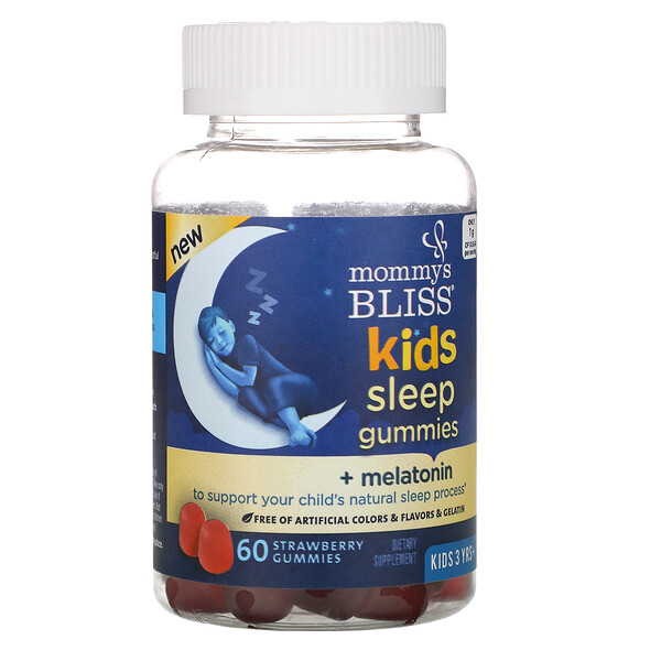 Kids Sleep Gummies + Melatonin, Kids 3 Years +, Strawberry, 60 Gummies