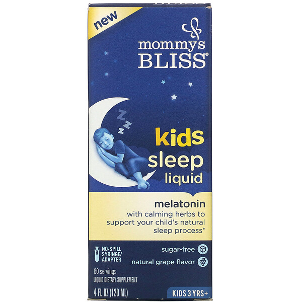 Kids Sleep Liquid, Kids 3 Yrs +, Natural Grape, 4 fl oz (120 ml)