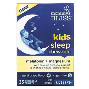 Mommy's Bliss, 兒童睡眠咀嚼片,褪黑素 + 鎂,3 歲以上兒童,天然葡萄口味,35 片咀嚼片
