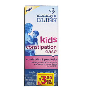 Mommy's Bliss, Kids Constipation Ease, 4 Years+, Orange, 4 fl oz (120 ml)