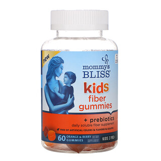 Mommy's Bliss, Gomas Kids Fiber + Prebióticos, Crianças Acima de 3 Anos, Laranja e Frutos Silvestres, 60 Gomas