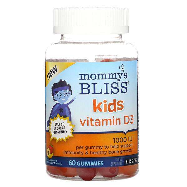 Kids, Vitamin D3, Peach, Mango & Strawberry Flavors, 1,000 IU, 60 Gummies