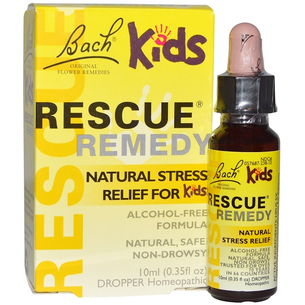 Bach, Original Flower Remedies, Rescue Remedy, Natural Stress Relief for Kids, 0.35 fl oz (10 ml)