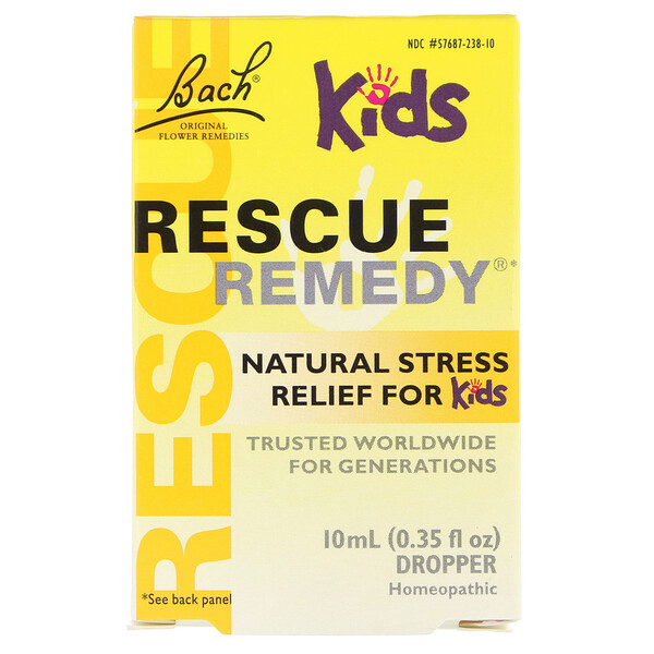 Bach, Original Flower Remedies, Rescue Remedy, Natural Stress Relief for Kids, Dropper, Alcohol-Free Formula, 0.35 fl oz (10 ml)