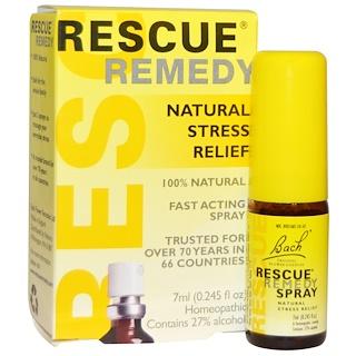 Bach, Remedio original de flores, Rescue Remedy, spray para el alivio natural del estrés, 0,245 fl oz (7 ml)