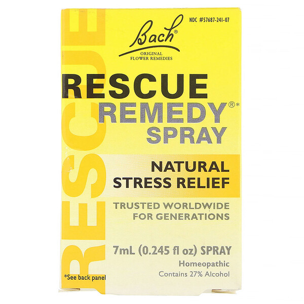 Bach, Remédios originais de flores, remédio recuperador, spray natural de alívio do stress, 0,245 fl. oz. (7 mL)
