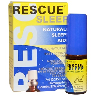 Bach, Original Flower Remedies, Rescue Sleep, Natural Sleep Aid Spray, 0.245 fl oz (7 ml)