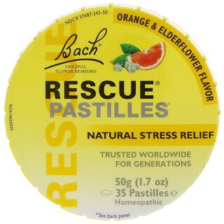 Bach, Original Flower Remedies, Rescue Pastilles, Natural Stress Relief, Orange & Elderflower, 35 Pastilles, 1.7 oz (50 g)
