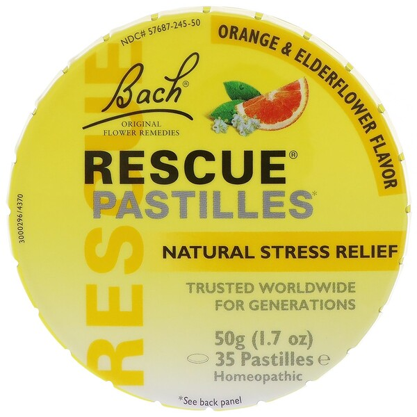 Original Flower Remedies, Rescue Pastilles, Natural Stress Relief, Orange & Elderflower, 35 Pastilles, 1.7 oz (50 g)