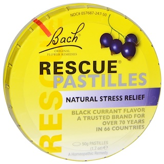 Bach, Original Flower Remedies, Rescue Pastilles, Natural Stress Relief, Black Currant Flavor, 1.7 oz (50 g) Pastilles