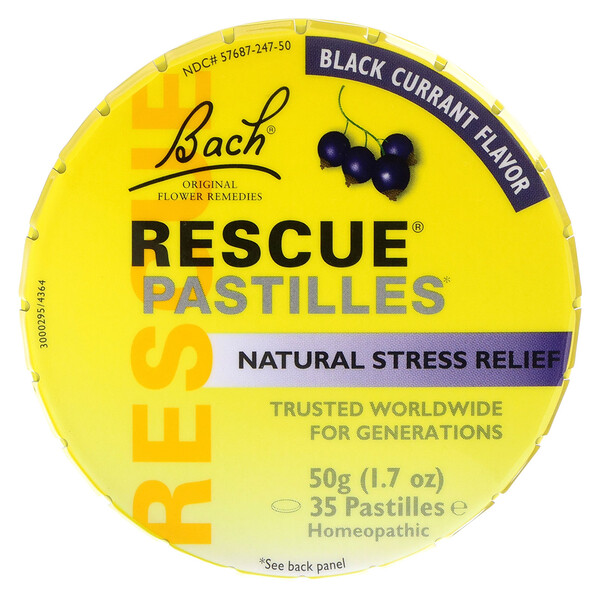 Bach, Original Flower Remedies, Rescue Pastilles, Natural Stress Relief, Black Currant Flavor, 35 Pastilles, 1.7 oz (50 g)