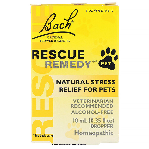 Bach, Original Flower Remedies, Rescue Remedy Pet, Natural Stress Relief, Dropper, Alcohol-Free, 0.35 fl oz (10 ml)