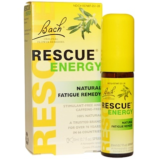 Bach, Original Flower Remedies, Rescue Energy, Natural Fatigue Remedy, 0.7 fl oz (20 ml)