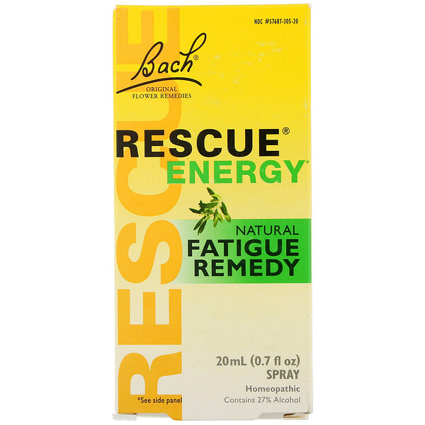Bach, Remède de fleurs original, Rescue Energy, remède naturel contre la fatigue, 20 ml (0,7 fl oz)