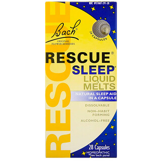 Bach, مساعد النوم Original Flower Remedies، Rescue Sleep Liquid Melts، 28 كبسولة