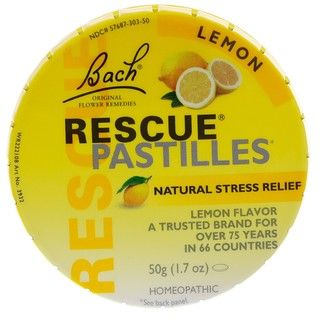 Bach, Original Flower Remedies, Rescue Pastilles, Natural Stress Relief, Lemon, 1.7 oz (50 g)