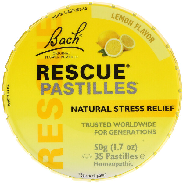 Bach, Original Flower Remedies, Rescue Pastilles, Natural Stress Relief, Lemon Flavor, 1.7 oz (50 g)