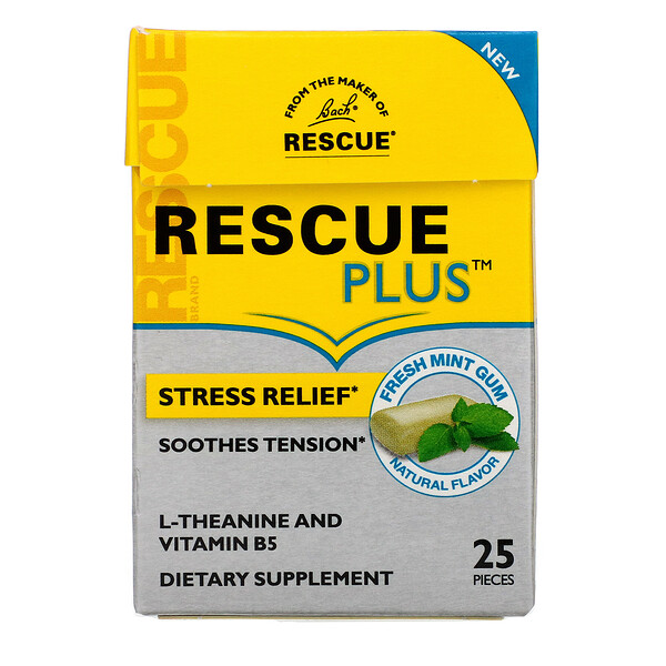 Bach, Rescue Plus Gum, Stress Relief, Fresh Mint, 25 Pieces