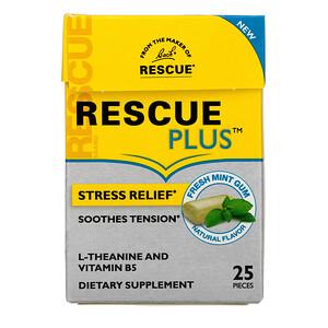 Bach, Rescue Plus Gum, Stress Relief, Fresh Mint, 25 Pieces'