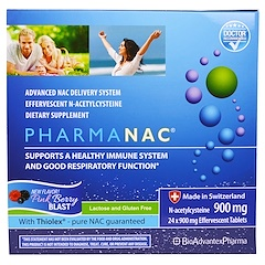BioAdvantex Pharma, PharmaNAC, Pink Berry Blast, 900 mg, 24 Effervescent Tablets