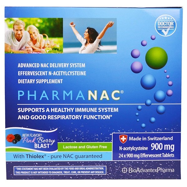 BioAdvantex Pharma, PharmaNAC, Pink Berry Blast, 900 mg, 24 Effervescent Tablets (Discontinued Item)