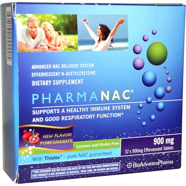 BioAdvantex Pharma, PharmaNAC, Advanced NAC Delivery System, Pomegranate, 900 mg, 32 Effervescent Tablets (Discontinued Item)