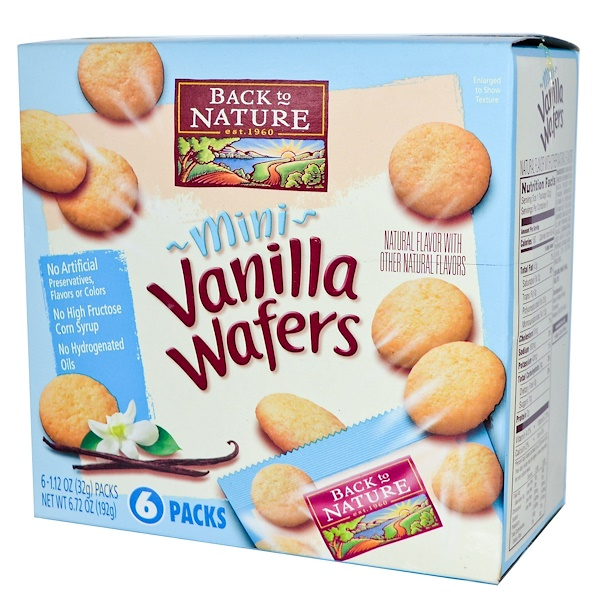 Back to Nature, Mini Wafers, Vanilla, 6 Packs, 1.12 oz (32 g) Each  (Discontinued Item)