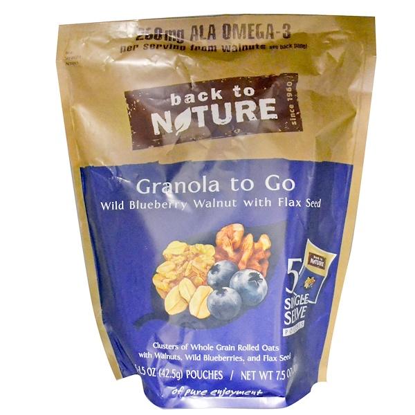 Back to Nature, Гранола, Дикая черника с грецким орехом и семенами льна 5 пакетиков, 1.5 унции (42.5 г) каждый (Discontinued Item)