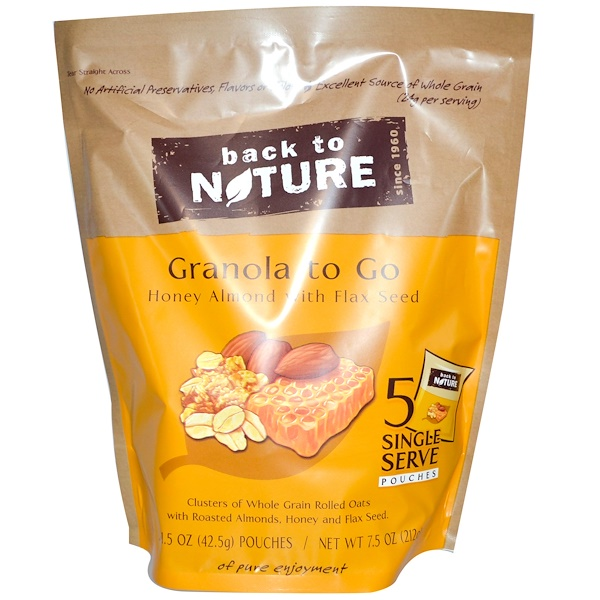 Back to Nature, Granola to Go, Honey Almond With Flax Seed, 5 Pouches, 1.5 oz (42.5 g) Each  (Discontinued Item)