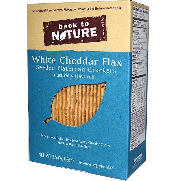 Back to Nature, Seeded Flatbread Crackers, White Cheddar Flax, 5.5 oz (156 g) (Discontinued Item)