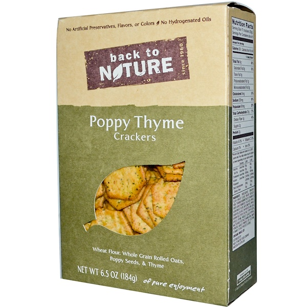 Back to Nature, Crackers, Poppy Thyme, 6.5 oz (184 g) (Discontinued Item)