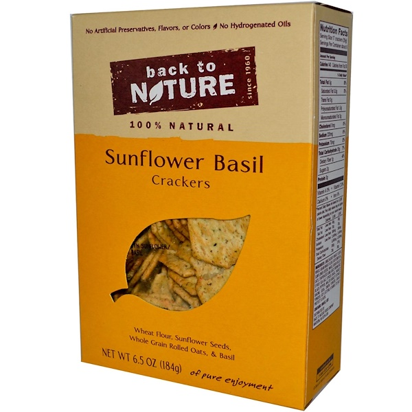 Back to Nature, Sunflower Basil Crackers, 6.5 oz (184 g) (Discontinued Item)