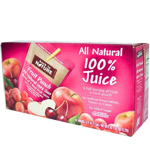 Back to Nature, All Natural 100% Juice, Fruit Punch, 10 Pouches, 6 fl oz (177 ml) Each (Discontinued Item)