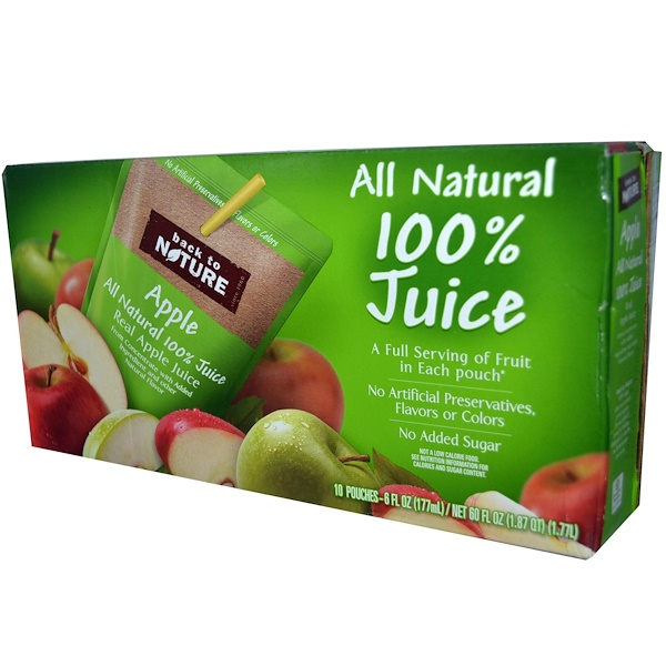 Back to Nature, Apple, All Natural 100% Juice, 10 Pouches, 6 fl oz (177 ml) Each (Discontinued Item)